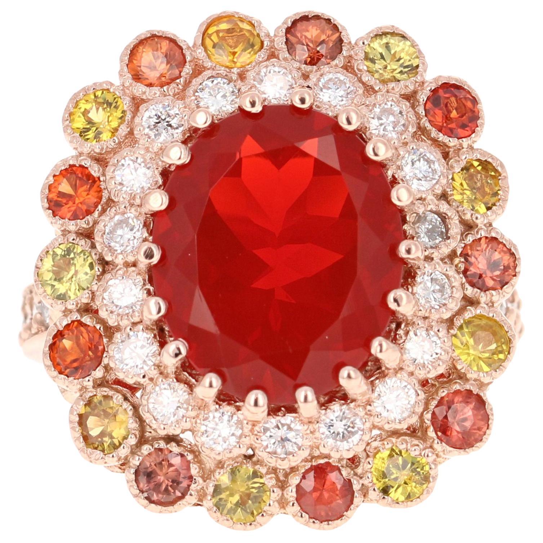 5.06 Carat Oval Cut Fire Opal Sapphire Diamond 14 Karat Rose Gold Cocktail Ring