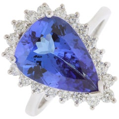 5.06 Carat Pear Shaped Tanzanite and Diamond Ring