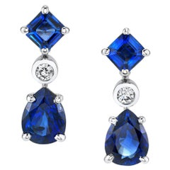 7.09 Carat Sapphire and Diamond 18 Karat White Gold Dangle Earrings