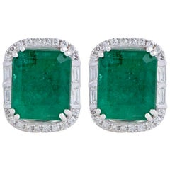 5.06 Emerald Diamond 18 Karat White Gold Stud Earrings