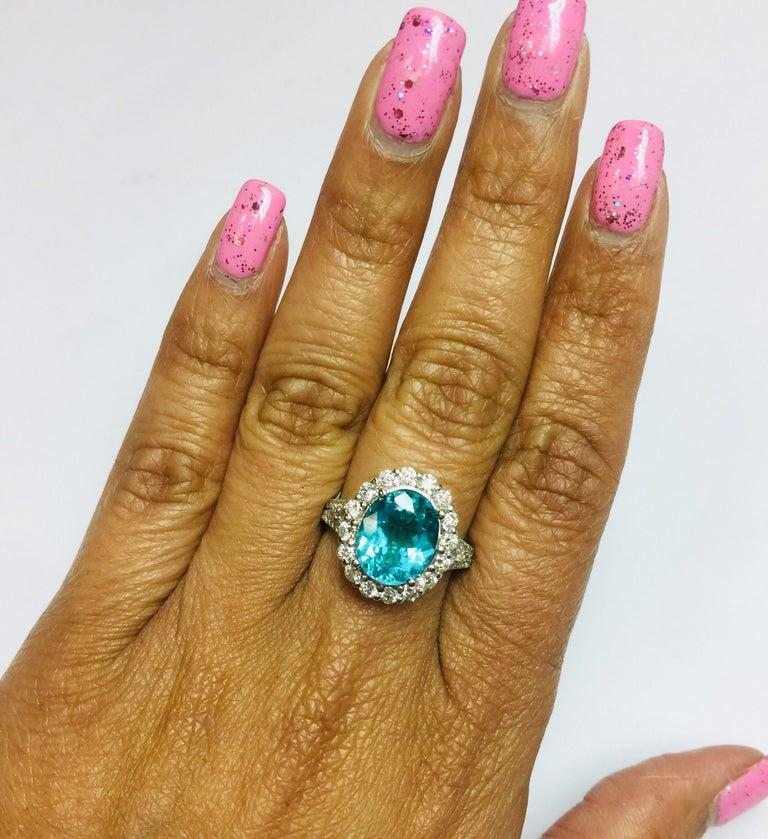 5.07 Carat Apatite Diamond 14 Karat White Gold Cocktail Ring In New Condition For Sale In Los Angeles, CA