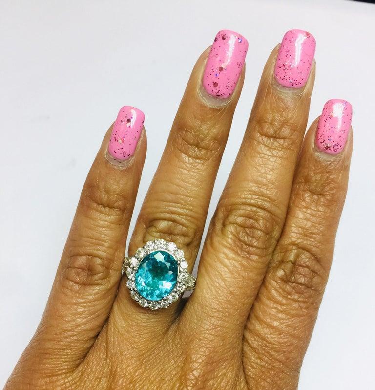 Women's 5.07 Carat Apatite Diamond 14 Karat White Gold Cocktail Ring For Sale