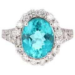5.07 Carat Apatite Diamond 14 Karat White Gold Cocktail Ring