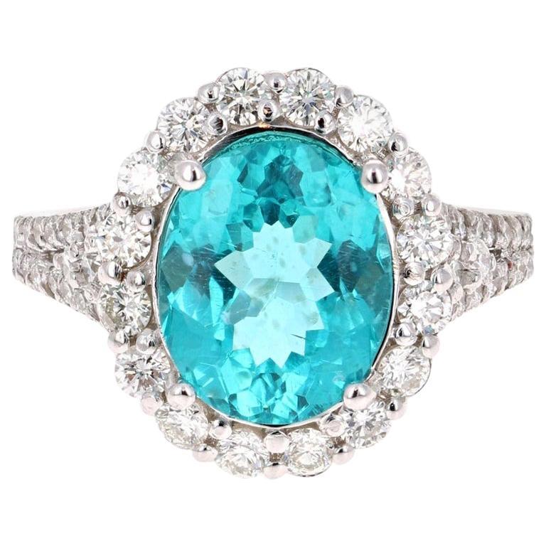 5.07 Carat Apatite Diamond 14 Karat White Gold Cocktail Ring For Sale