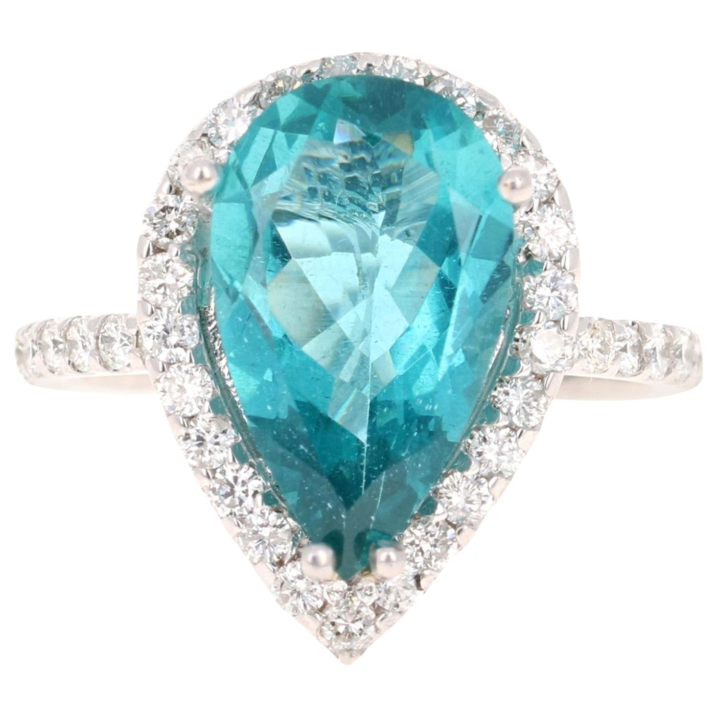 5.07 Carat Apatite Diamond Ring 14 Karat White Gold Cocktail Ring