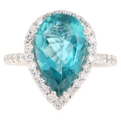 5.07 Carat Apatite Diamond Ring 14 Karat White Gold Cocktail Ring