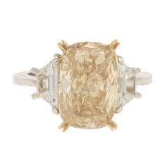 5.07 Carat Fancy Yellow Elongated Cushion-Cut Diamond Engagement Ring