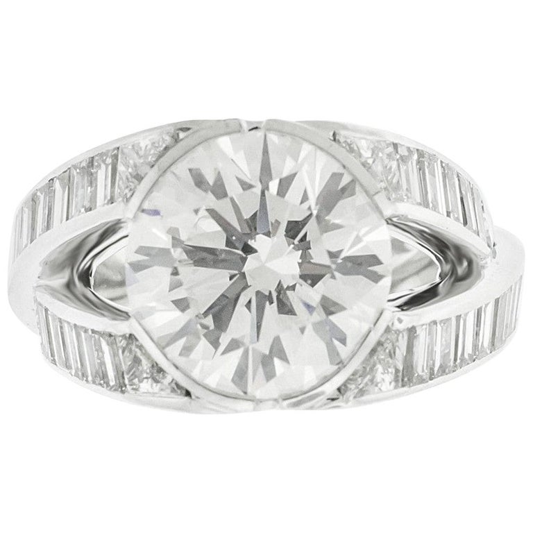 5.07 Carat GIA Certified Round Brilliant Diamond Engagement Ring For Sale