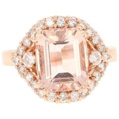 5.07 Carat Morganite Diamond 14 Karat Rose Gold Cocktail Ring