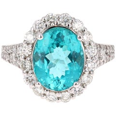 5.07 Carat Oval Cut Apatite Diamond White Gold Bridal Ring
