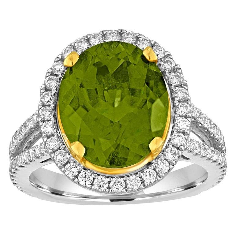 5.07 Carat Oval Peridot Diamond Gold Halo Ring For Sale