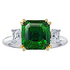 5.07 Carat Square Emerald Cut Green Tsavorite and Diamond Platinum and 18k Ring