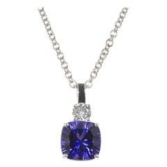 5.07 Carat Tanzanite Diamond White Gold Pendant Necklace