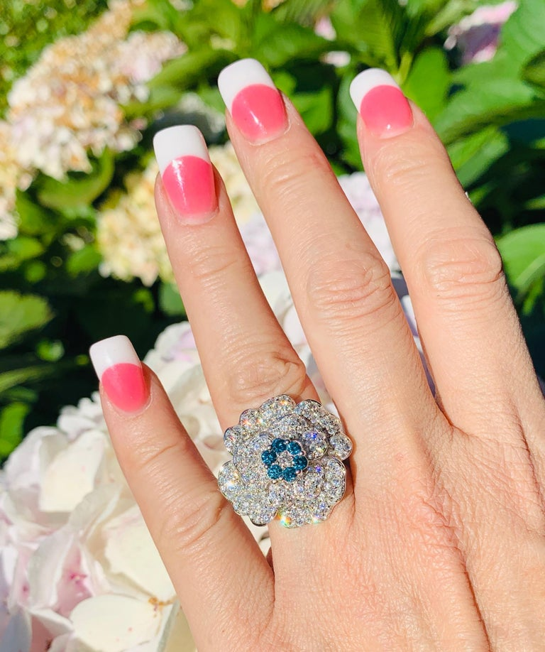 5.07 Carat White and Blue Diamond Camellia Flower 18 Karat White Gold Ring For Sale 6