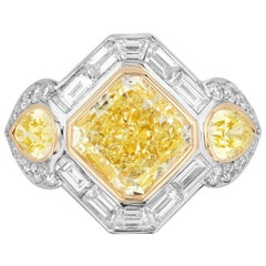 5.07 Carat Yellow Diamond and White Diamond Ring