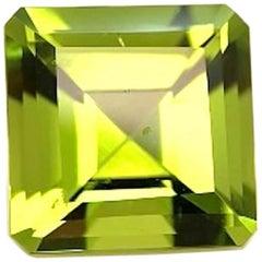 5.07 ct. Apple Green Peridot Square, Unset Loose 3-Stone Ring, Pendant Gemstone