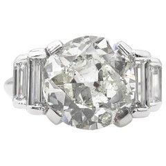5.07ct Vintage Old European Diamond Engagement Wedding White Gold Ring EGL USA