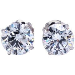 10.15 Carat 4-Prong Solitaire Diamond Stud Earrings GIA Certified Si1 18K Gold