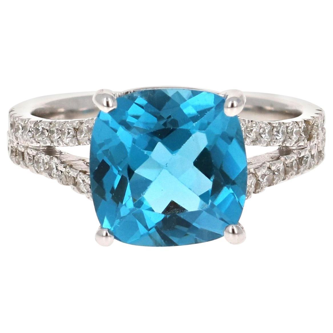 5.08 Carat Cushion Cut Blue Topaz Diamond 14 Karat White Gold Ring