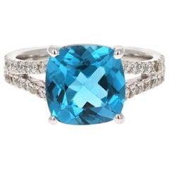 5.08 Carat Blue Topaz Diamond 14 Karat White Gold Ring