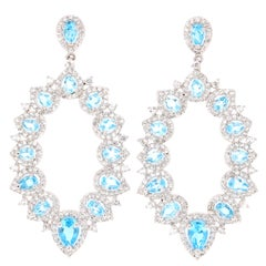 5.08 Carat Blue Topaz White Topaz Silver Earrings