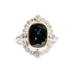 5.08 Carat Cushion Blue Teal Sapphire and 0.82 Carat Diamond 18 Carat Gold Ring