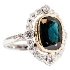 5.08 Carat Cushion Blue Teal Sapphire and 0.82 Carat Diamond 18 Carat Gold Ring