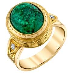 5.08 Carat Emerald Cabochon, Diamond Yellow Gold Bezel Dome Signet Band Ring