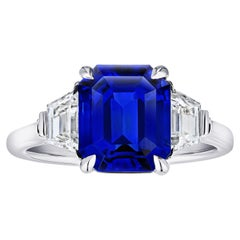 5.08 Carat Emerald Cut Blue Sapphire and Diamond Ring