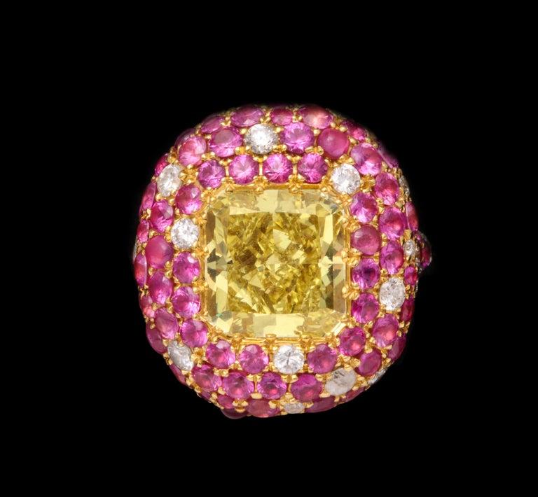 5.08 Carat Intense Yellow Diamond Ring For Sale 2