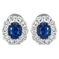 5.08 Carat of Non Heated Burma Sapphires with 4 Carat Diamond Halo Earrings