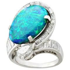 5.08 Carat Opal and 2.49 Carat Diamond Platinum Dress Ring