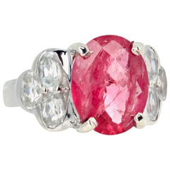 5.08 Carat Pink Tourmaline and White Topaz Ring