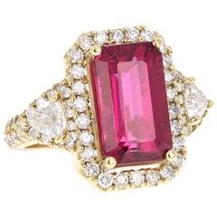 5.08 Carat Rubellite Tourmaline Diamond 18 Karat Yellow Gold Engagement Ring