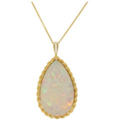 50.80 Carat Pear Shaped Opal and Diamond Pendant