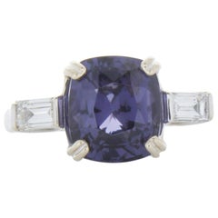 5.09 Carat Cushion Cut Spinel & Diamond Cocktail Ring in 18k White Gold