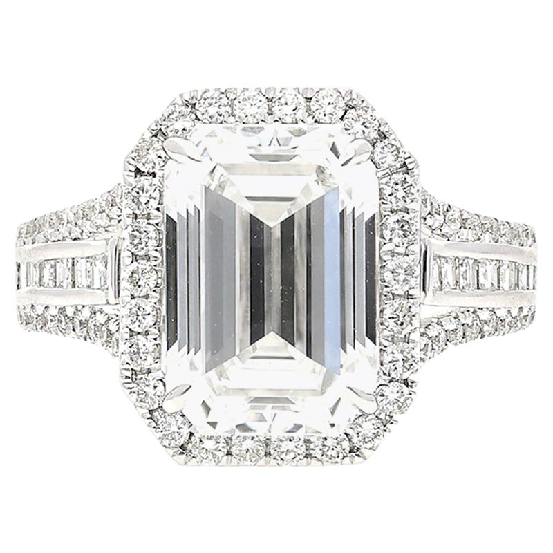 5.09 Carat GIA Certified D Color VVS2 Clarity Emerald Cut Diamond and Gold Ring