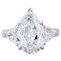 5.09 Carat Pear Shape Diamond D SI1 GIA Ring, 2.36 Carat Side Diamonds