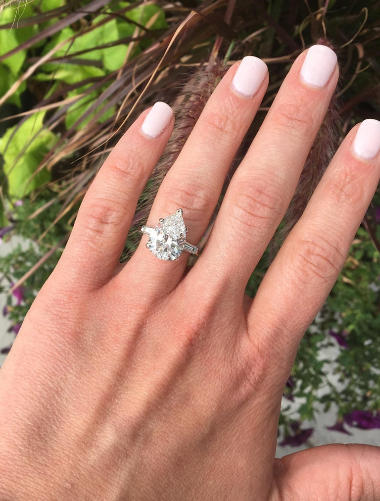 035abbba294d1 GIA Certified 4.83 Carat Pear Shaped Diamond Engagement Ring in Platinum