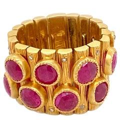 5.09 Carat Ruby Art Deco Mosaic Statement Coomi Ring