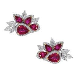 5.09 Carat Ruby Diamond Earrings