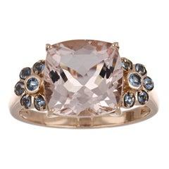 5.09 Carat Total Morganite and Aquamarine Ring in 14 Karat Rose Gold
