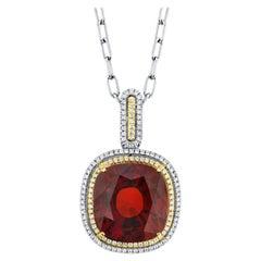 50.93 ct Hessonite Garnet & Diamond Halo 18k Gold Drop Pendant Necklace w/ Chain