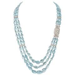 509.35 Carat Aquamarine with 6.56 Carat Diamond Platinum Multi-Strand Necklace