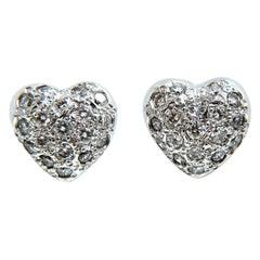 .50 Carat Diamonds Heart Cluster Earrings 14 Karat Stud