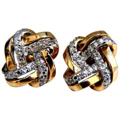 .50 Carat Natural Diamond Endless Knot Earrings 14 Karat