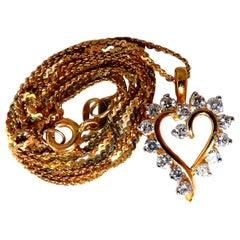 .50 Carat Natural Diamonds Heart Necklace 14 Karat Yellow Gold