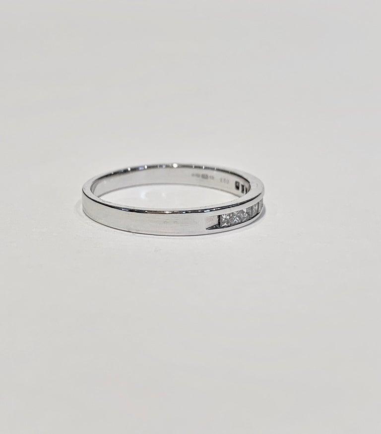 Women's or Men's .50 Carat Princess Cut Diamonds Channel Set Eternity Band in 18 Carat White Gold For Sale