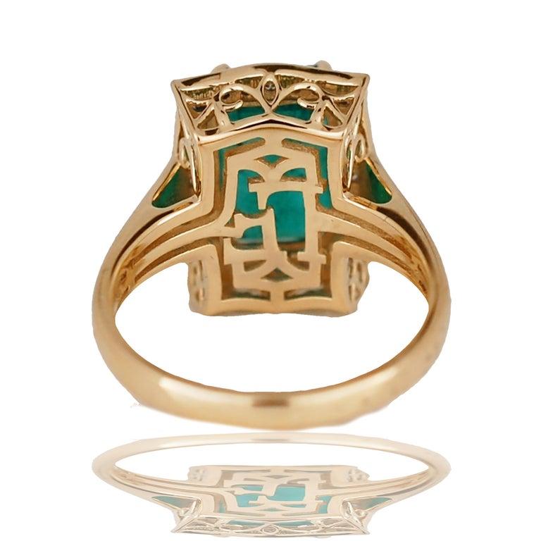 Modern 5.0 Carat Emerald Cut Emerald and Diamond Ring For Sale