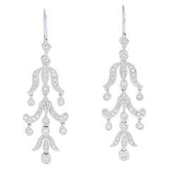 .50ctw Round Brilliant Diamond Earrings 14 Karat Gold Pierced Chandelier Dangles